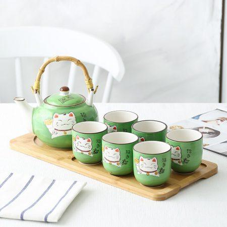 Japanese Maneki Neko FortuneCat Teapot Set