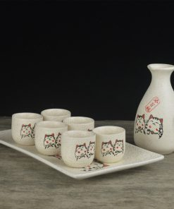 Japanese Maneki Neko Wine Set Retro