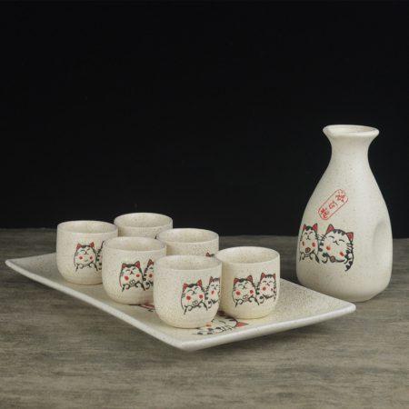 Japanese Maneki Neko Wine Set Retro