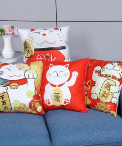 Happy New Year Lucky Cat 2019 Pillow Cases