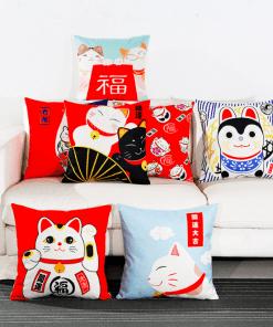 Japanese Lucky Cat Maneki Neko Linen Pillowcases