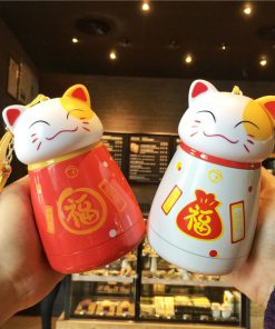 Maneki Neko Fortune Cat Stainless Steel Water Cup