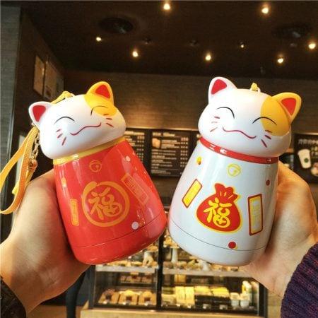 Maneki Neko Fortune Cat Stainless Steel Water Cup