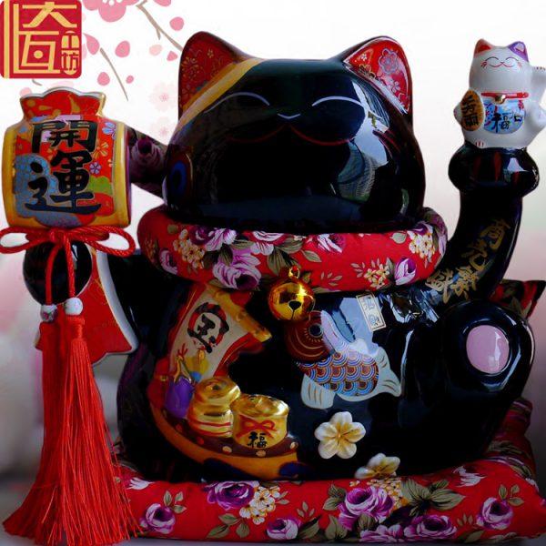 Maneki Neko Ceramic Black Lucky Cat