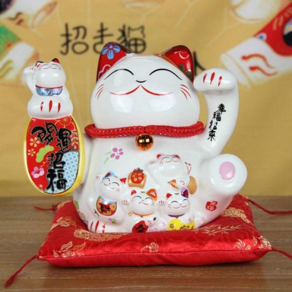 8 Inch Lucky Cat Fengshui Maneki Neko