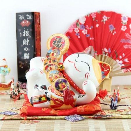 New 8 Inch Fengshui Lucky Cat Maneki Neko