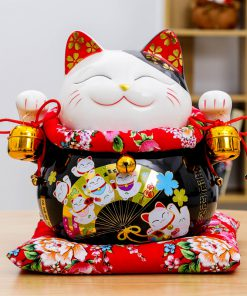 10 inch Black Maneki Neko Lucky Cat