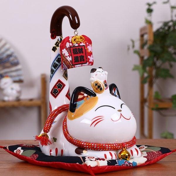 Maneki Neko Money Box Long Tail Fortune Cat