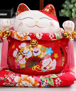 7 inch Maneki Neko Ceramic Chinese Lucky Cat