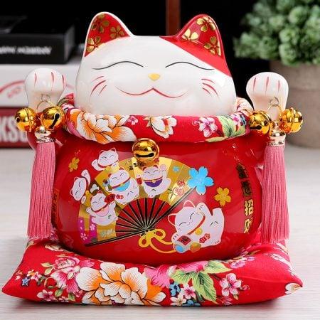 7 inch Maneki Neko Ceramic Chinese Lucky Cat