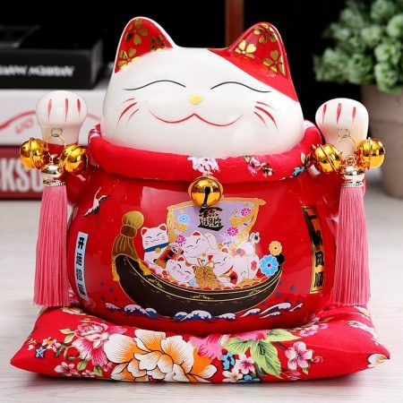 7 inch Maneki Neko Ceramic Chinese Fortune Cat