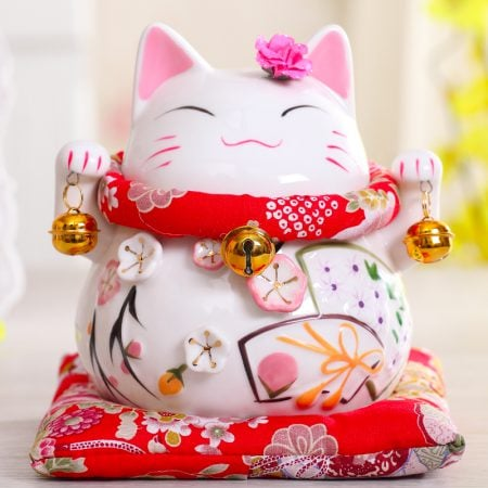 6 inch Maneki Neko Ceramic Chinese Lucky Cat
