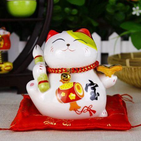 4 inch Maneki Neko Ceramic Fengshui Cat Home Decor