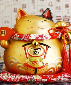 8 inch Golden Maneki Neko Ceramic Lucky Cat