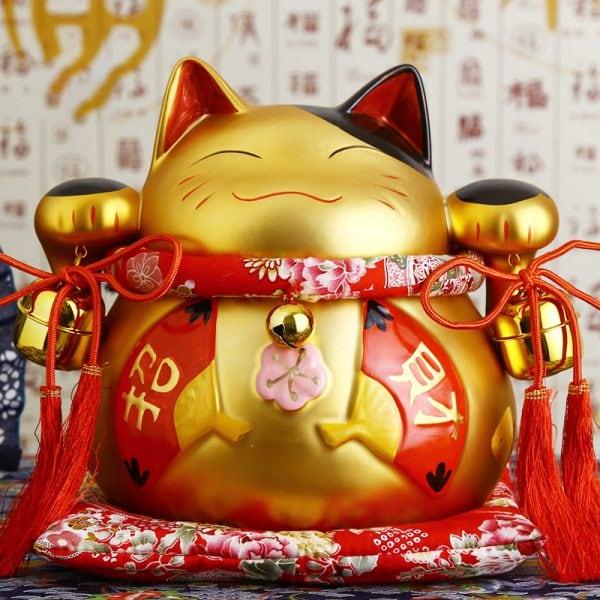 8 inch Golden Ceramic Maneki Neko Fortune Cat
