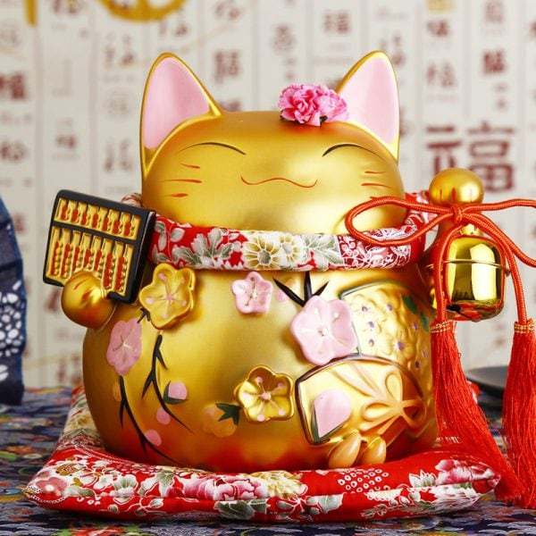 8 inch Golden Ceramic Maneki Neko
