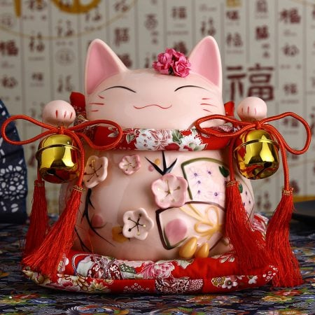8 inch Maneki Neko Ornament Pink Lucky Cat