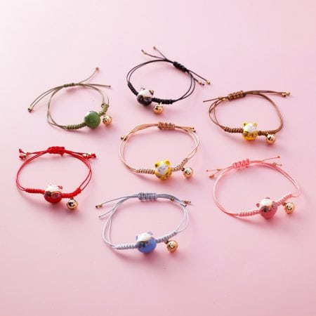 Handmade Colorful Rope Lucky Cat Bracelet