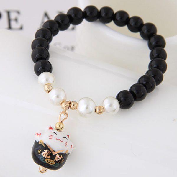 Maneki Neko Lucky Cat Colorful Beaded Bracelets
