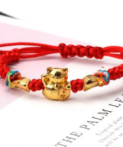 Golden Fortune Cat Red String Bracelets