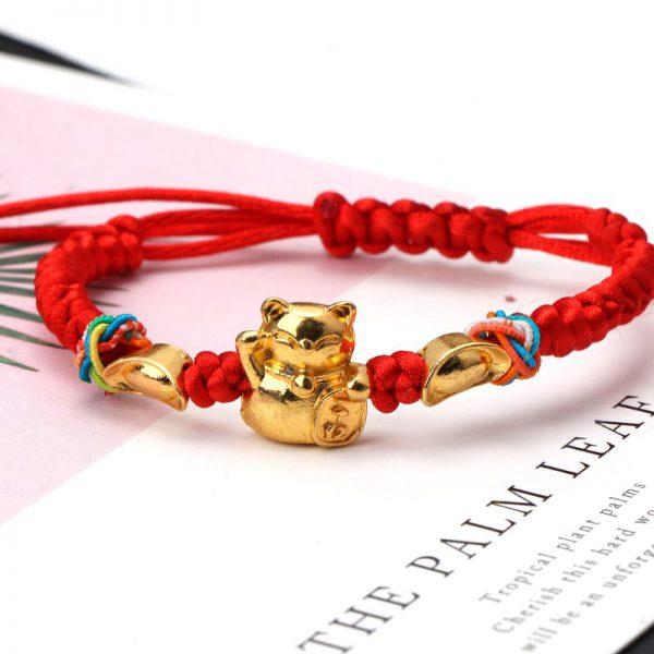 Golden Fortune Cat Red String Bracelets