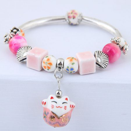 Sweet Maneki Neko Lucky Cat Charm Beads Bracelet