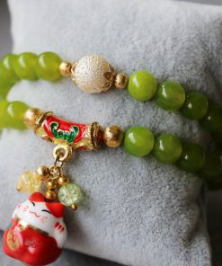 8mm Maneki Neko Lucky Cat Beads Bracelet