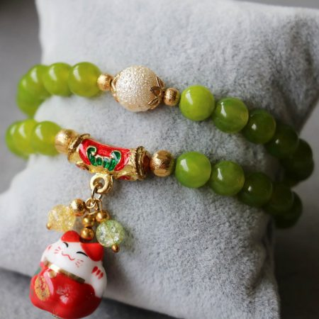 8mm Maneki Neko Lucky Cat Beads Bracelet