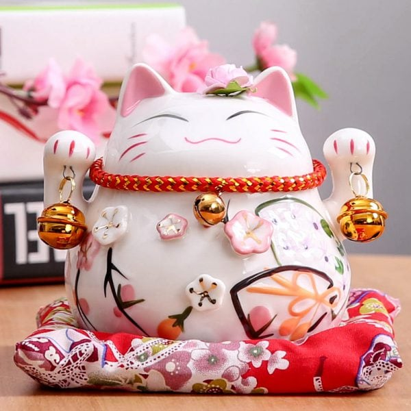 4.5 inch Maneki Neko Ceramic Lucky Cat Home Decor