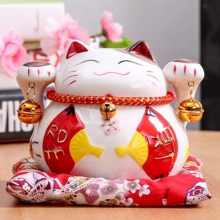 4.5 inch Maneki Neko Ceramic Fortune Cat Home Decor