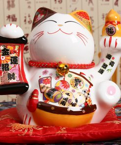 Japanese Ceramic Maneki Neko Lucky Cat Porcelain Statue