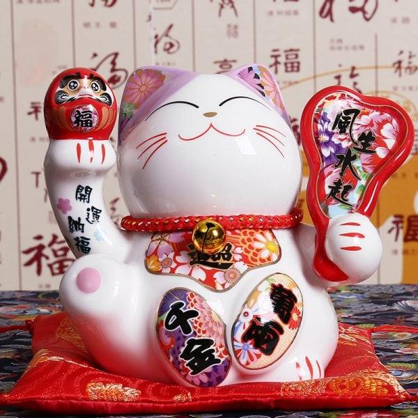 5 inch Japanese Ceramic Maneki Neko Statue