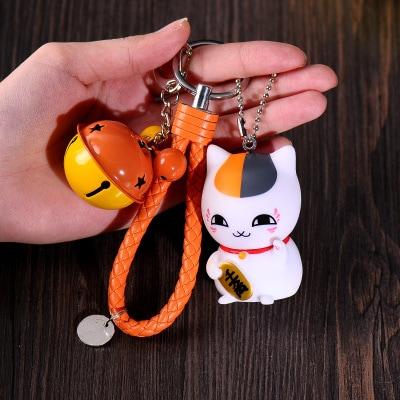 Lucky Cat Maneki Neko Braid Belt Bells Keychains