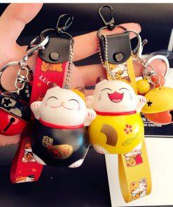 Maneki Neko Lucky Cat Braid Belt Bells Keychains