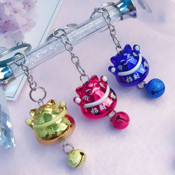 Full Color Fortune Cat Maneki Neko Keychains