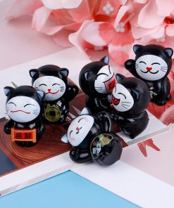 6pcs Black Maneki Neko Fortune Cat Miniatures