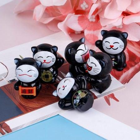 6pcs Black Maneki Neko Fortune Cat Miniatures