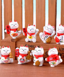 8pcs Maneki Neko Lucky Cats Adorable Miniature