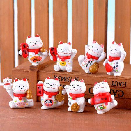 8pcs Maneki Neko Lucky Cats Adorable Miniature