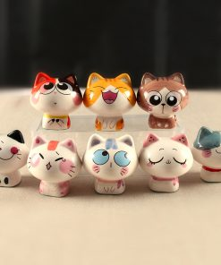 8pcs Ceramic Maneki Neko Cute Miniatures