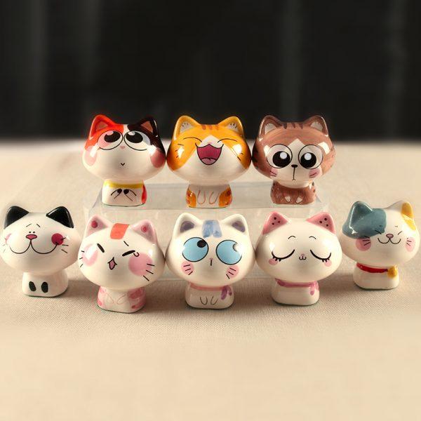 8pcs Ceramic Maneki Neko Cute Miniatures