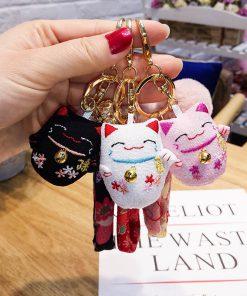 Handmade Stitch Maneki Neko Lucky Cat Keychains