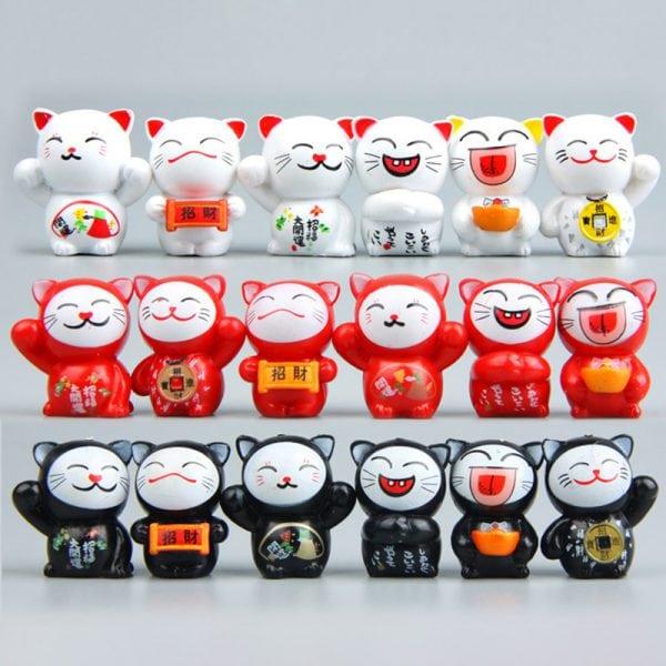 6PCS Lucky Cats Cute Miniatures Ornaments