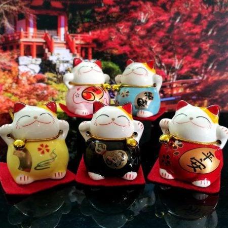 Hot Sale Maneki Neko Lucky Cat Set Miniatures Ornaments