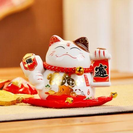 Hot 4 Inch Ceramic Fengshui Cat 2019 Maneki Neko