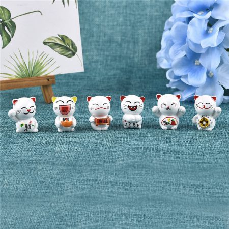 6pcs Lucky Cat Maneki Neko Miniatures Decorations