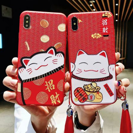 Cute Maneki Neko Lucky Cat Red Case For Iphone