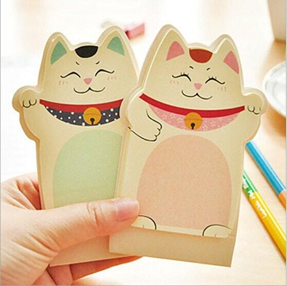 1Pcs New Lucky Cat Maneki Neko Sticky Notes
