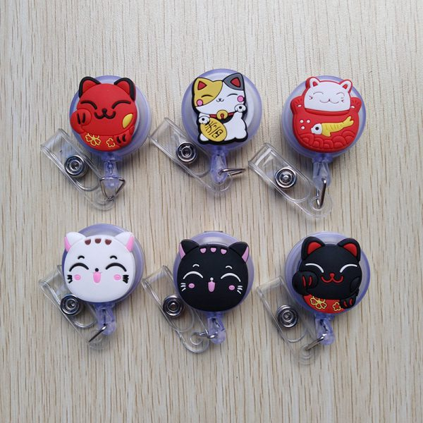 1pcs/lot Silica Gel Maneki Neko Lucky Cat Badge