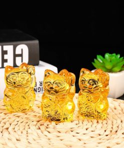 Chinese Citrine Crafts Lucky Cat Glass Ornaments
